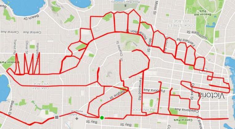 Een greep uit het werk van GPS-kunstenaar Stephen Lund.
