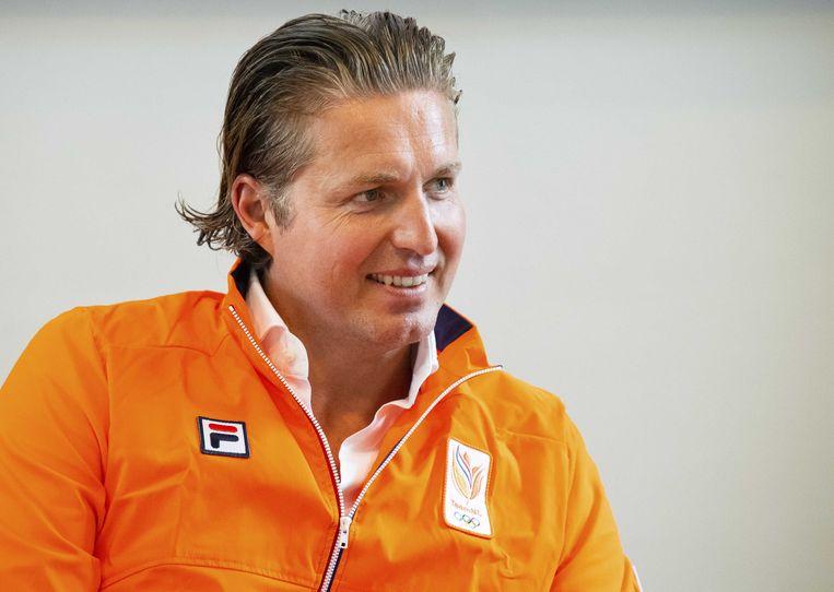 Pieter van den Hoogenband, chef de mission van TeamNL, praat aanwezige pers bij over de Nederlandse afvaardiging naar de tweede editie van de Europese Spelen in Minsk. Namens Nederland nemen 88 sporters deel aan de Spelen.  Beeld ANP