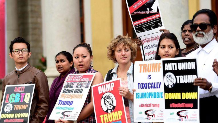 Demonstratie tegen Trump in India. Beeld epa