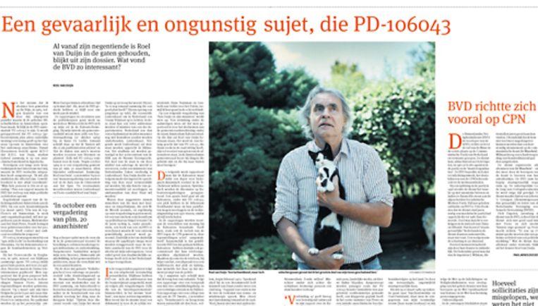 Vandaag in Het Parool: Een gevaarlijk en ongunstig sujet, die PD-106043 Beeld