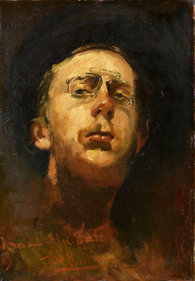 Zelfportret met lorgnet van George Hendrik Breitner. Beeld