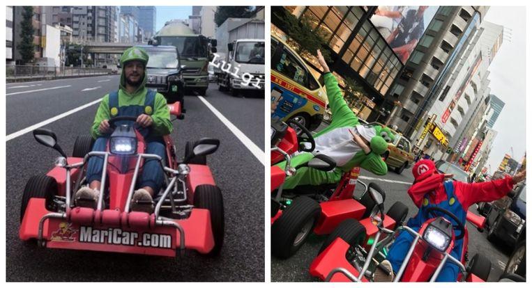 Foto links: onder meer Dries Mertens ging verkleed als Luigi al karten door de straten van Tokio.