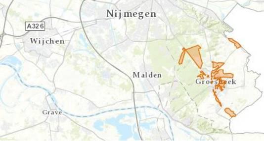 Het gearceerde gebied op deze kaart zat donderdagmiddag een paar uur zonder stroom.