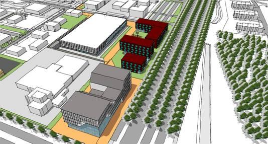 Op de voorgrond het iconische bedrijvencentrum dat op de kruising Hengelosestraat - Auke Vleerstraat in Enschede moet verrijzen. De rode gebouwen op de tekening zijn nog toekomstmuziek.