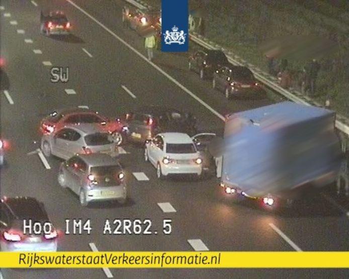 Ongeluk op de A2 bij de Leidsche Rijntunnel in Utrecht.