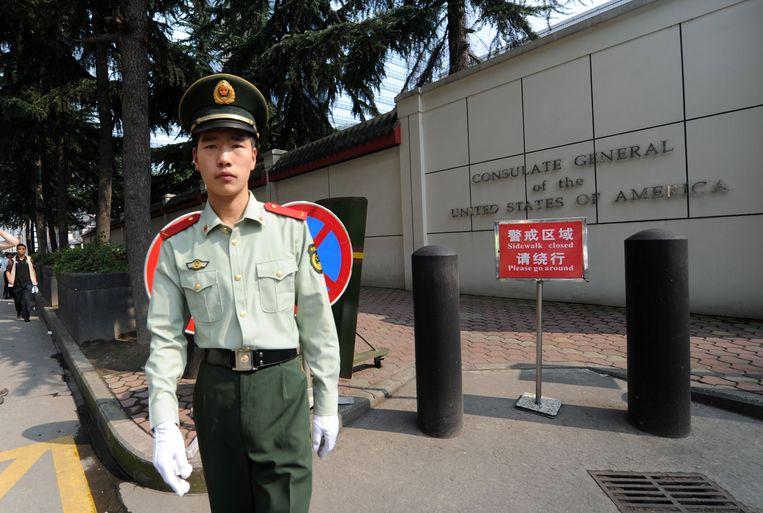 Het Amerikaanse consulaat in Chengdu. Beeld AFP