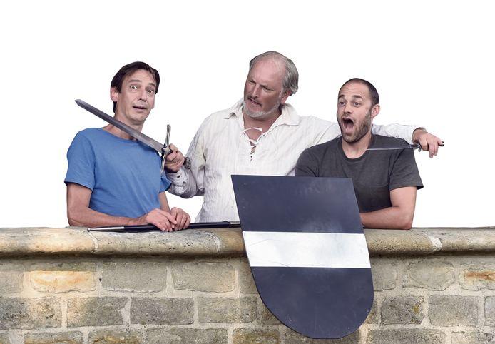 Bernard Meijlink, Peter Blom en Bram Silkens (van links naar rechts) willen de historie van Veere op een dynamische manier laten zien: spannend en beleefbaar.