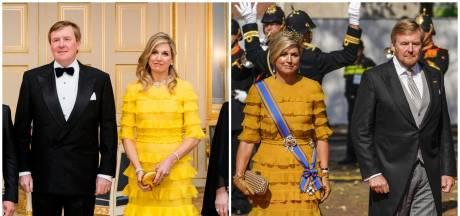 Koningin Máxima steekt jurk in nieuw jasje: 'Het past bij een dag als vandaag'
