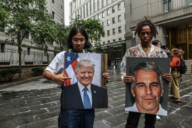 Demonstranten tonen foto's van Donald Trump en Jeffrey Epstein. Beeld Stephanie Keith / Getty