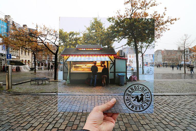 Hands off the barmaid had een hongertje en trok in 2014 voor de cover van 'Life's Litte Luxuries' naar de frituur op de Vrijdagsmarkt in Gent.
