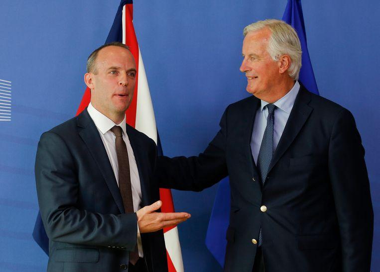 Dominic Raab en Michel Barnier.