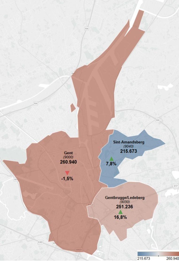 Evolutie van de prijzen van appartementen in Gent tussen 2017 en 2018.