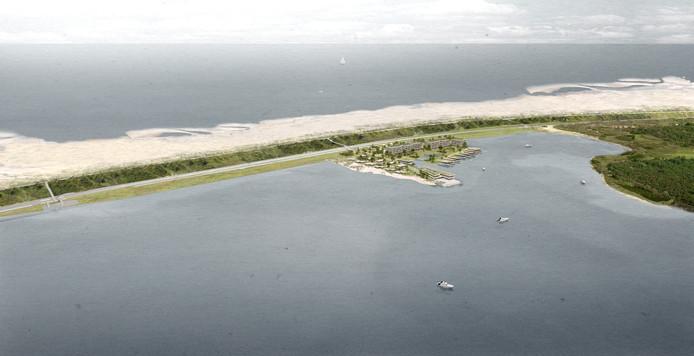 Het idee voor het bebouwde schiereiland in het Veerse Meer, gezien vanuit de lucht.