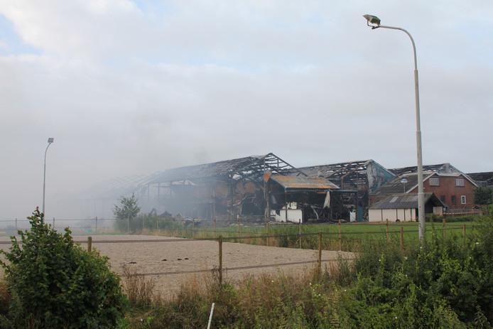 De dag na de grote brand in de stallen van De Knorhof in Erichem.
