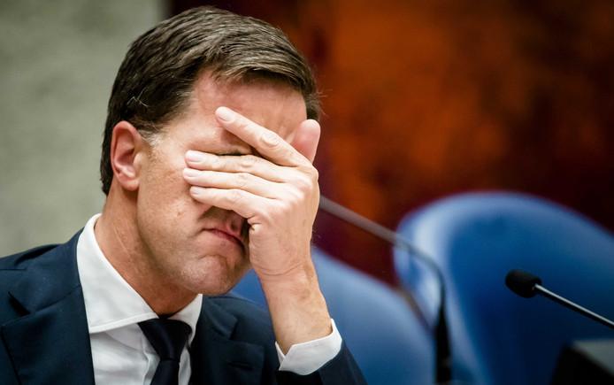 Premier Mark Rutte tijdens het Tweede Kamerdebat over de dividendbelasting.