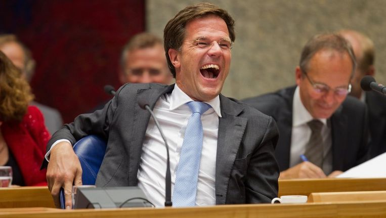 Een lachende premier Mark Rutte. Beeld null