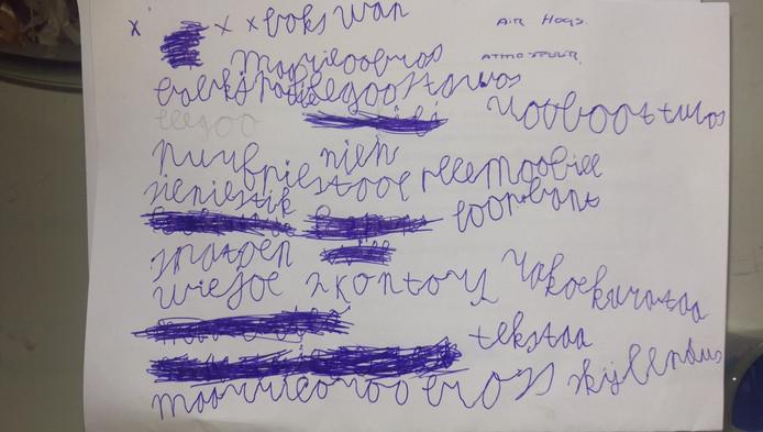 Het lijstje van Rodney, 7 jaar.