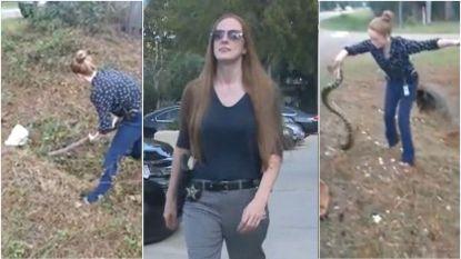 """""""Je bent gek!"""" Koelbloedige agente gaat strijd aan met drie meter lange anaconda"""