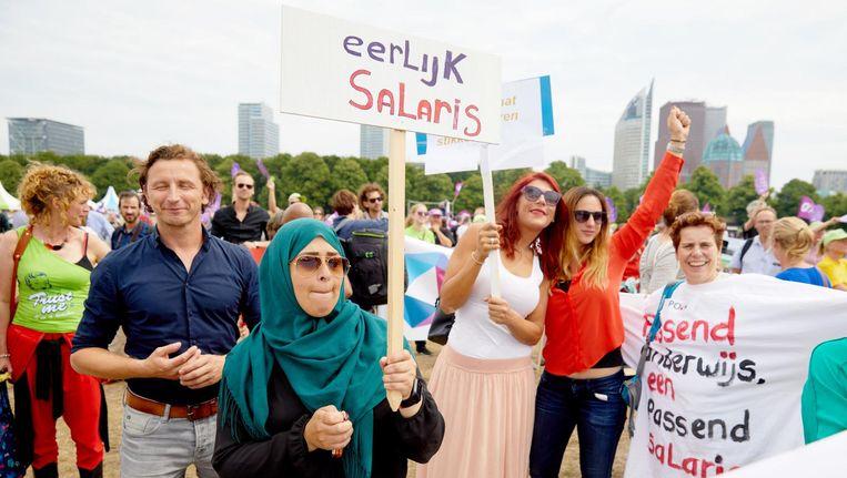 Leraren demonstreren afgelopen juni op het Malieveld voor meer salaris en minder werkdruk in het primair onderwijs Beeld anp