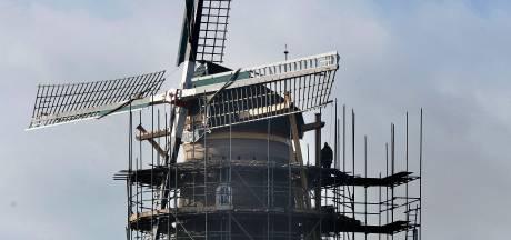 Metershoge steigers omringen molen De Hoop voor maandenlange restauratieklus