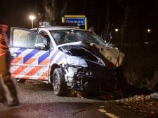 Politiewagen vliegt uit de bocht: hond en agent ongedeerd