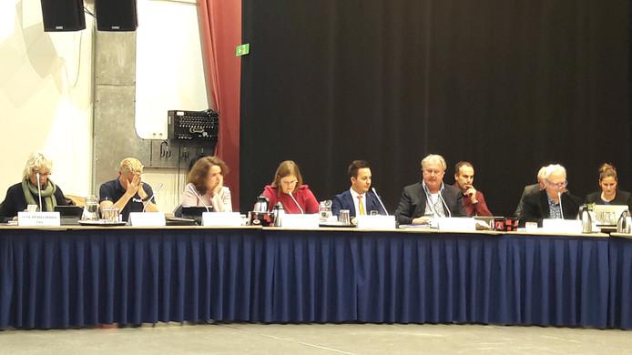 De 4 VVD-fractieleden van de 3e tot en met de  6e van links, 2e van links (met de handen voor het gezicht) is Richard van de Burgt van de PvdA