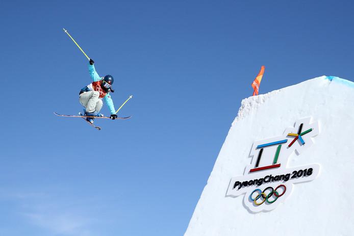Freestyleskiester Sarah Höfflin, die namens Zwitserland goud pakte op het onderdeel slopestyle.
