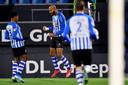 Collin Seedorf en Regino Cicilia vieren de 1-0 voor FC Eindhoven.