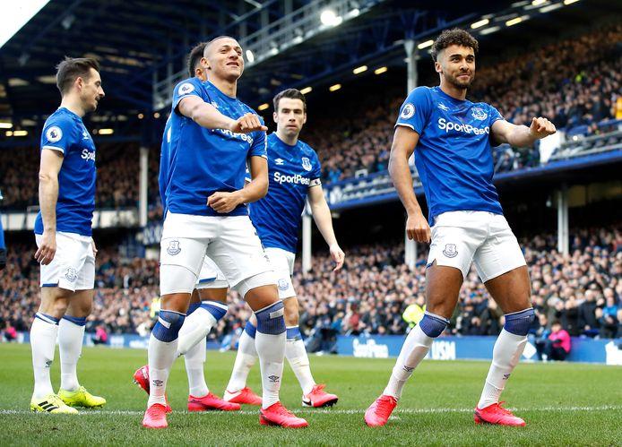 Dansende Everton-spelers.