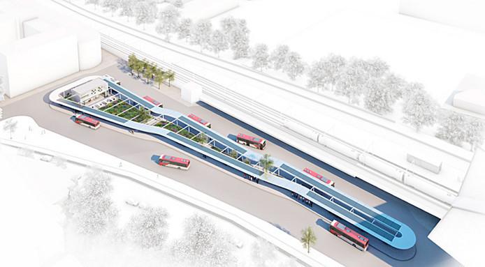 Zo moet het nieuwe busstation eruit gaan zien.
