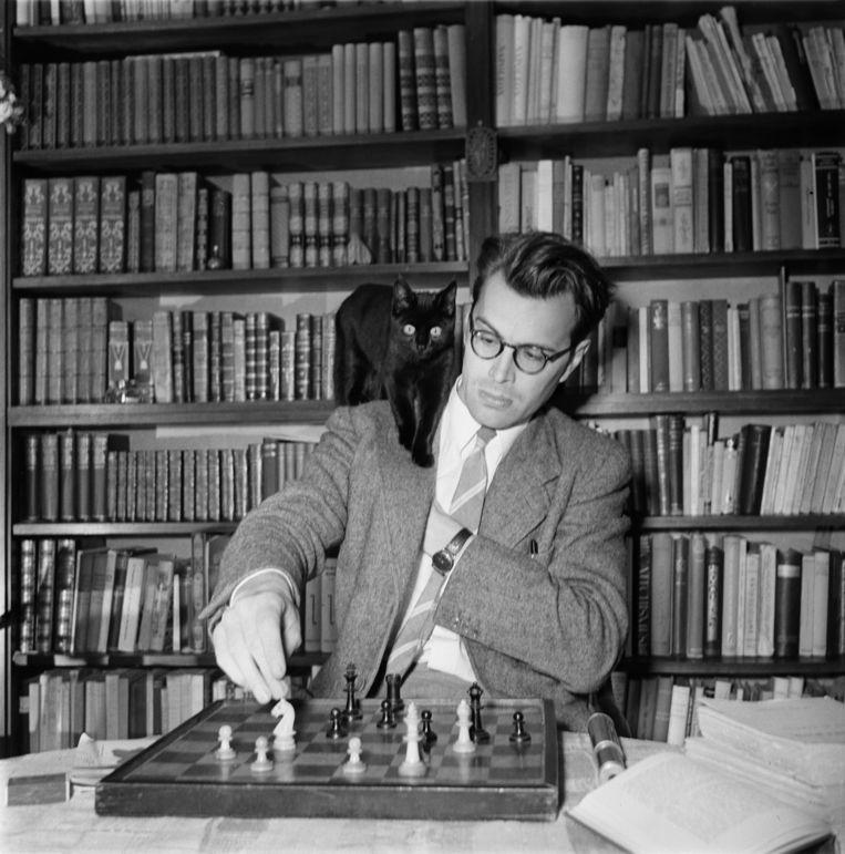 Godfried Bomans speelt een potje schaak. Beeld Maria Austria Instituut / HH