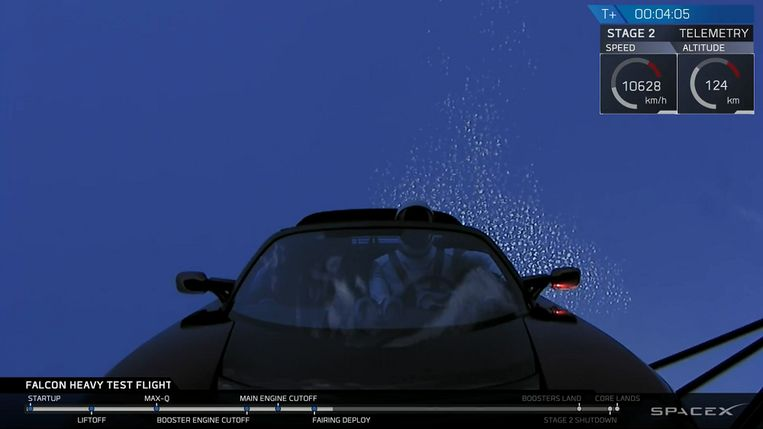 Een camera op de raket nam dit beeld van de Tesla van Elon Musk met pop Starman.