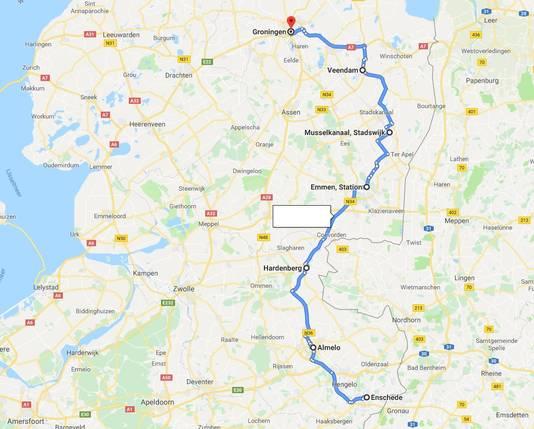 De route van die de nieuwe treinverbinding tussen Enschede en Groningen ongeveer zou moeten afleggen