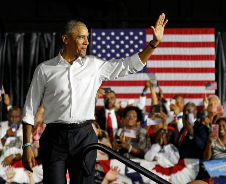 Barack Obama tijdens een campagnerally voor de Democraten in Florida.