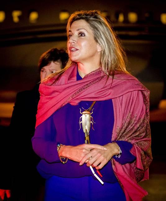 Koningin Maxima op vliegveld Figo Maduro.