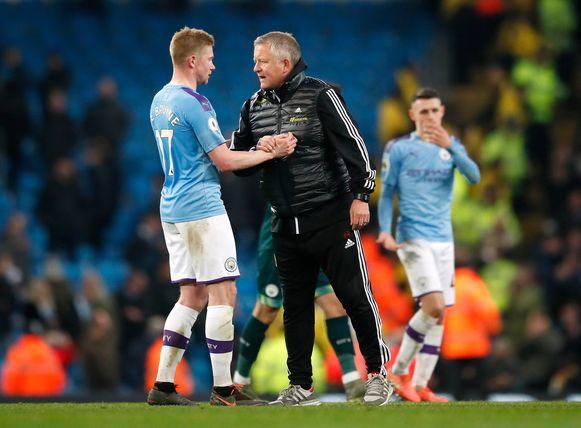 Sheffield United-manager Chris Wilder met felicitaties voor De Bruyne.
