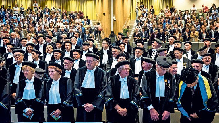 Hoogleraren bij de opening van het academisch jaar aan de Universiteit van Wageningen.  Beeld null