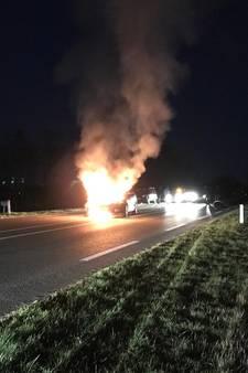 Auto vliegt in brand nabij Wierden na aanrijding met dier