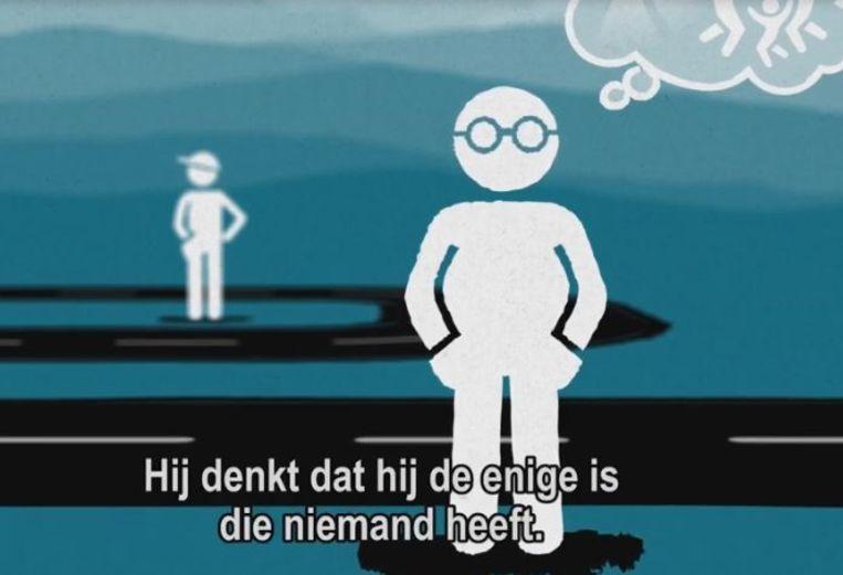Screenshot van een introductievideo van landelijk meldpunt eenzamejongeren.com. Beeld Eenzamejongeren.com