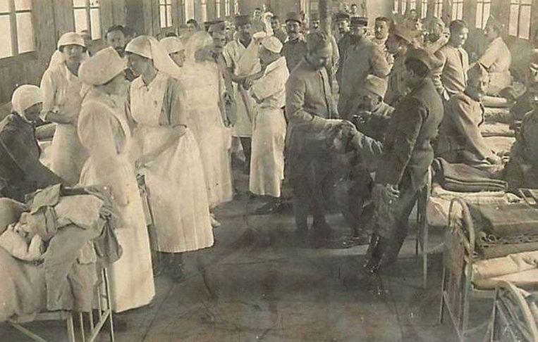 Tijdens de Tweede Wereldoorlog werden gewonden verzorgd in het ziekenhuis.