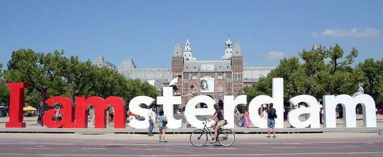 Het logo van de promotiecampagne van de stad Amsterdam Beeld