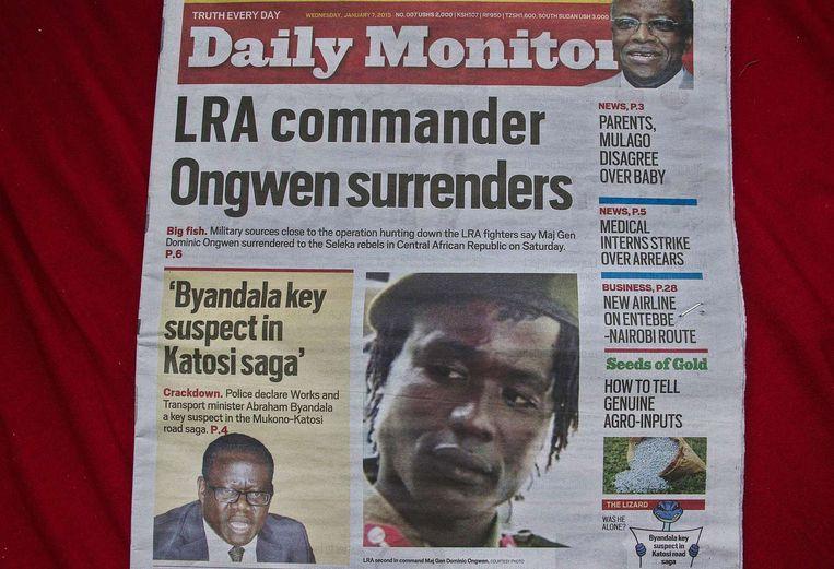 Rebellenleider Dominic Ongwen op de voorpagina van de Daily Monitor, de grootste onafhankelijke krant van Oeganda. Beeld ap