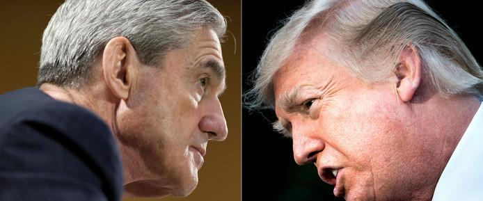 Robert Mueller (L) en Donald Trump.