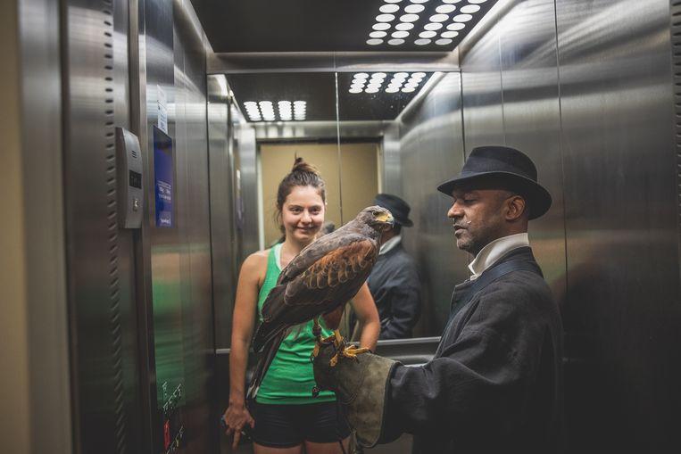 Met de lift terug naar de begane grond.