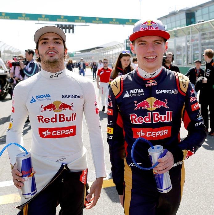 Carlos Sainz en Max Verstappen in 2015, toen ze nog samen reden voor Toro Rosso.