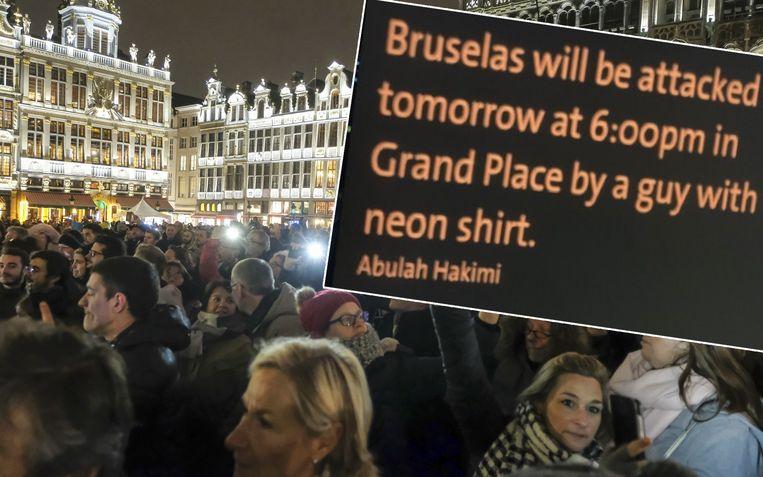 Het bericht kondigt vandaag om 18u een aanslag aan op de Brussels Grote Markt.