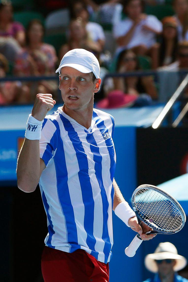 Ook op de Australian Open pakte Berdych al uit met een opvallende shirtkeuze.