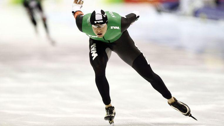 Simon Kuipers zondag in actie op de 1500 meter tijdens de Nederlandse afstandskampioenschappen in Heerenveen. Beeld anp
