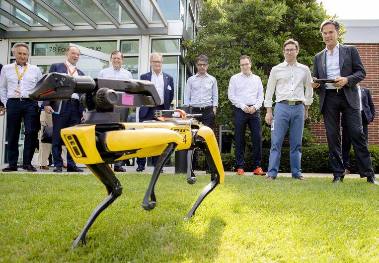 Premier Mark Rutte bestuurt een robot tijdens een bezoek aan Boston Dynamics, vorige zomer Beeld ANP