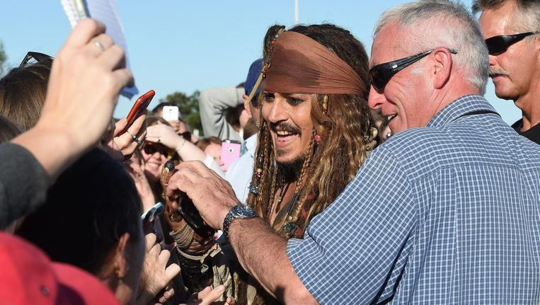Johnny Depp op de set van Dead Man No Tales. Beeld epa